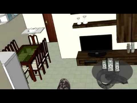 Modelo de planta de casa de 66 m 5x11 sketchup 3d youtube for Casa moderna sketchup download