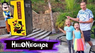 Hello Neighbor Steals Our Arcade Games! Mini Arcade Toy Scavenger Hunt!