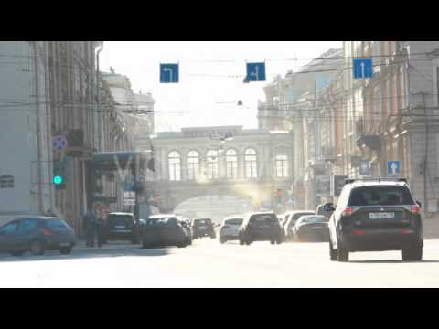Heavy traffic near Central Post Office in Saint Petersburg, Russia