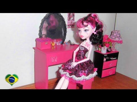 Como fazer penteadeira #2 para boneca Monster High. Barbie. Pullip e etc