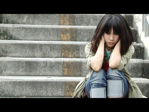 Asian Girl Alone. Stock Footage