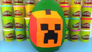 Minecraft Creeper Jack O Lantern Giant PlayDoh Surprise Egg