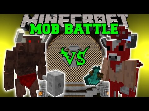MINOTAUR VS MUTANT COW & MINOSHROOM - Minecraft Mob Battles - Grimoire of Gaia Mods
