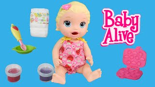 Boneca Baby Alive Lanchinhos Divertidos Loira Snackin Lily Toy Review ToysBR