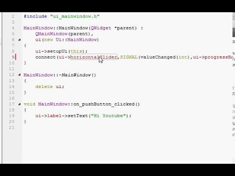 QT C++ GUI Tutorial 3- Qt Signal and slots (QSlider and QProgressBar)
