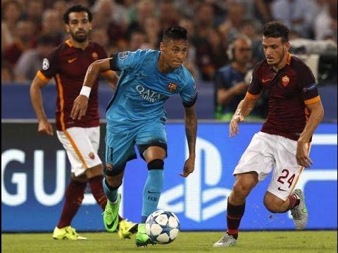 Neymar vs AS Roma todas sus jugadas highlights AS Roma 1 vs 1  FC Barcelona 16-09-2015