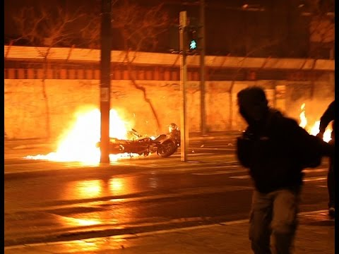 Front line view of the first anti-state riot in Athens under the new government of SYRIZA
