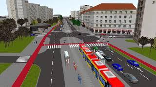Wizualizacja trasy tramwajowej Wola-Wilanów, odcinek Rakowiecka-Sielce oraz Sobieskiego-Stegny