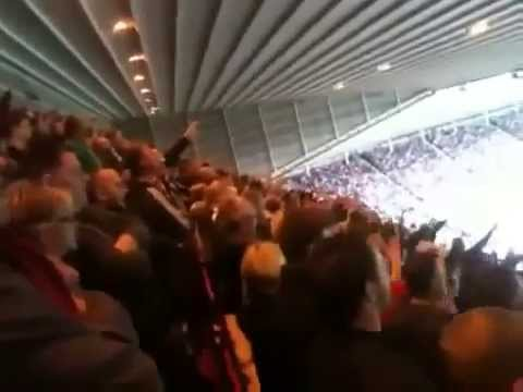 Liverpool fans chanting When Maggie Thatcher Dies
