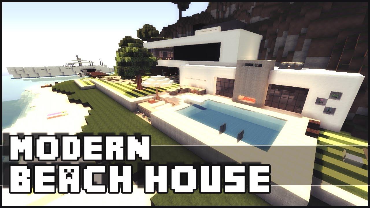 Minecraft - Modern Beach House & Yacht - YouTube