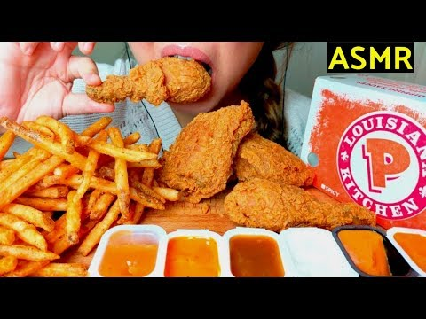 *CRUNCHY* ASMR POPEYES Fried Chicken & Cajun Fries 먹방 *No Talking* Eating Sounds thumbnail