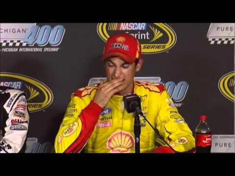 Logano and Harvick   3rd and 2nd Pure Michigan 400 NASCAR Video Interview