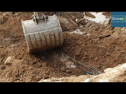 Broken Water Pipe-JCB Backhoe Loader-Hilly School Road Construction