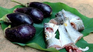 Village Food- Begun Diye Pona Macher Jhol | Delicious Bangali Style Carp Fish Curry with Brinjal