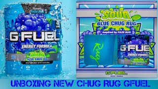 NEW Gfuel Flavor!!! Faze Sour Blue Chug Rug Unboxing and Taste Test.