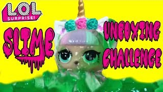 LOL SURPRISE Slime Challenge Unboxing A LOL Confetti Pop Doll In Slime LOL SURPRISE Unicorn In Slime