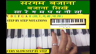 Sa Re Ga Ma on Harmonium|Keyboard Tutorial|Piano|Sargam Tutorial|Easy slow notes