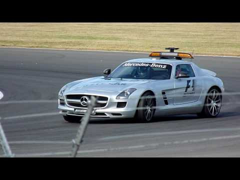 It's the end of the Saturday at the British Grand Prix at Silverstone, so Bernd Maylander takes some people round the track in the Mercedes SLS Formula 1 Saf...