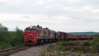 2М62-0444 и ТЭМ2-2726 (Нял) / 2M62-0444 and TEM2-2726 (RZD, Nyal). Russian north in the summer time.