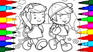Learn Colors by Drawing Pages Little School Boy and Girl Coloring Pages l Kids Coloring Books