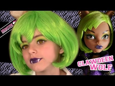 Clawdeen Wolf Dawn of the Dance Monster High Doll Costume Makeup Tutorial for Halloween
