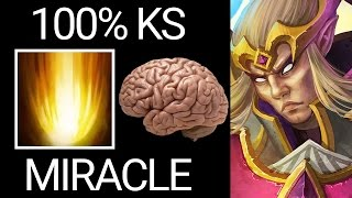 The 9K Level of KS 100% Sunstrike Miracle invoker Brain Hack Dota 2