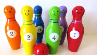 Learn colors and numbers with wooden bowling toy for children learn English