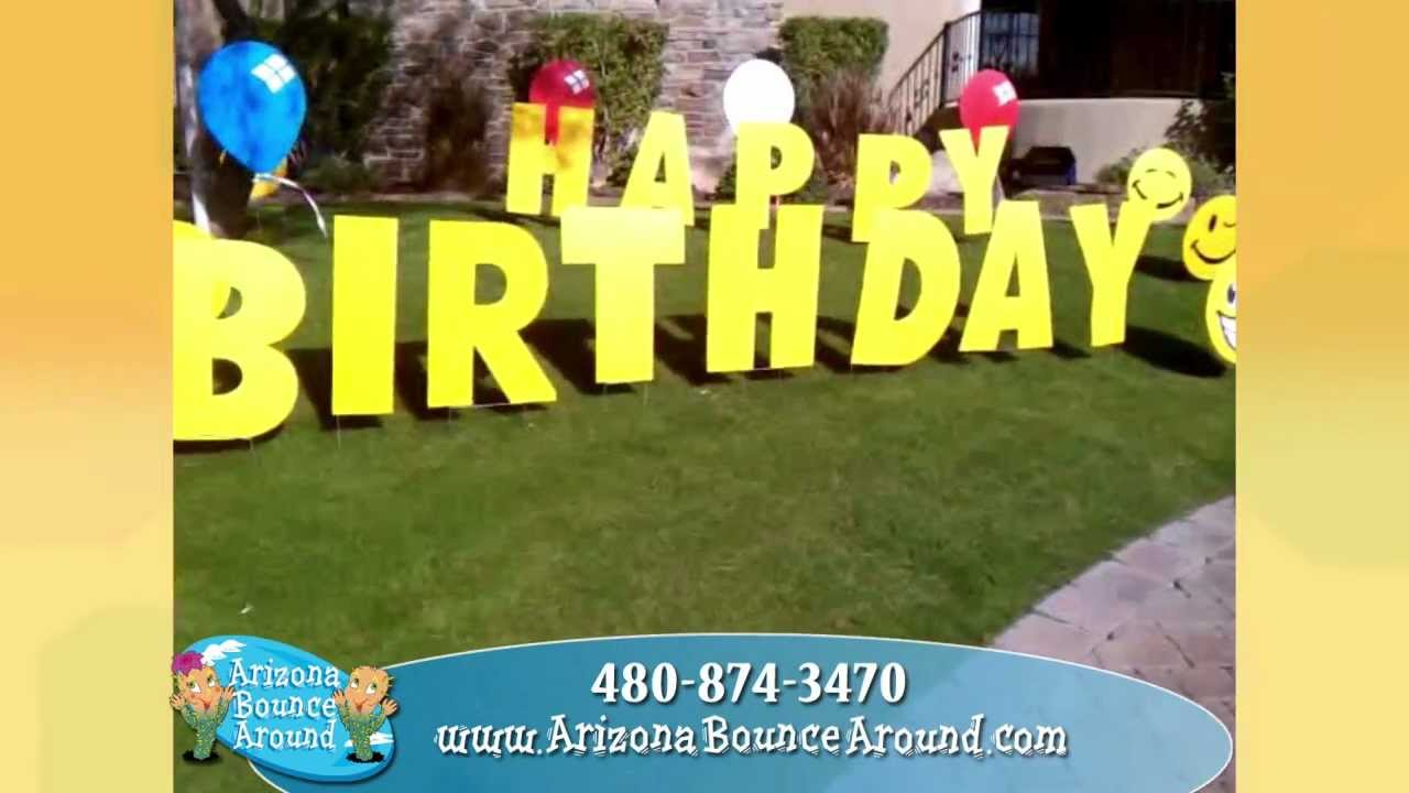 Birthday party yard signs for rent in Phoenix AZ - YouTube