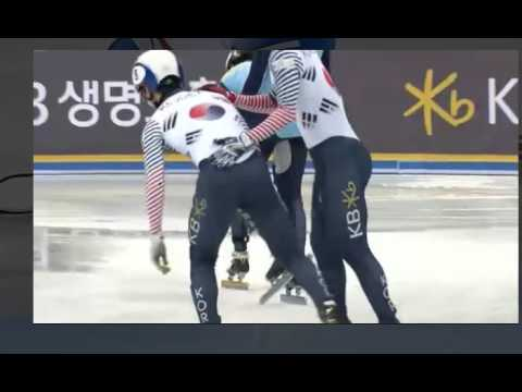 Shorttrack Gangneun KOR-RUS-KAZ crash 17-12-2016