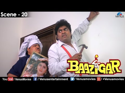 Johnny Lever nailing the wall (Baazigar)