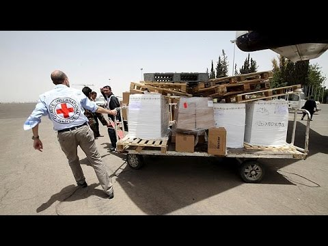 Emergency aid arrives in conflict-hit Yemen as air strikes continue