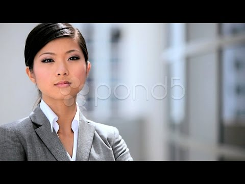Portrait Of A Successful Female Asian Business Executive. Stock Footage
