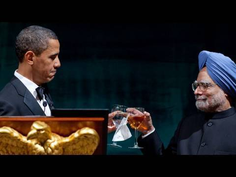 President Obama Toasts Prime Minister Singh of India