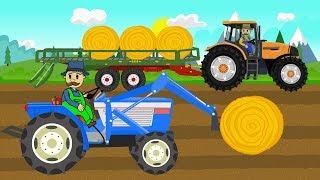Picking Up Straw Bales   Work on a field - Tractor Story   Zbieranie bel słomy - Bajki Traktory