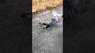 kid falls through ice on the lake... (CRIES)