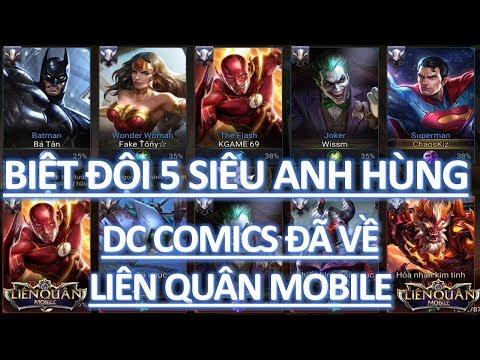 Biệt đội Team 5 siêu anh hùng: The Flash, Superman, Batman, Wonder Woman, The Joker đã về Liên quân thumbnail
