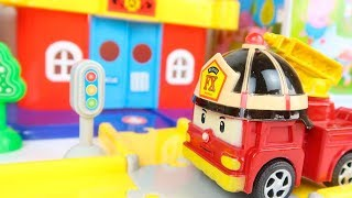 Robocar Poli Fire Station Unbox and Building car toy for Children - Building City Rescue Playset