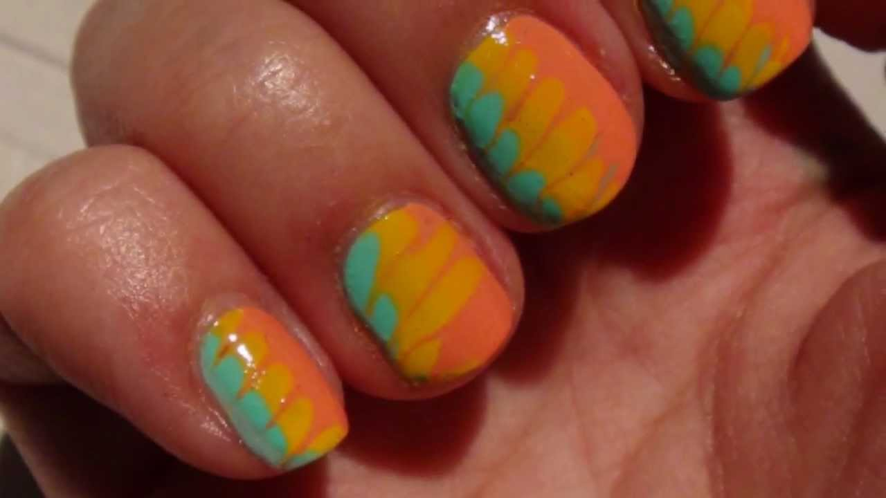 Nail art color facile et rapide marbr sans eau youtube - Nail art facile et rapide ...