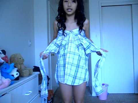 How to make a collared shirt into a dress youtube for Make a dress shirt