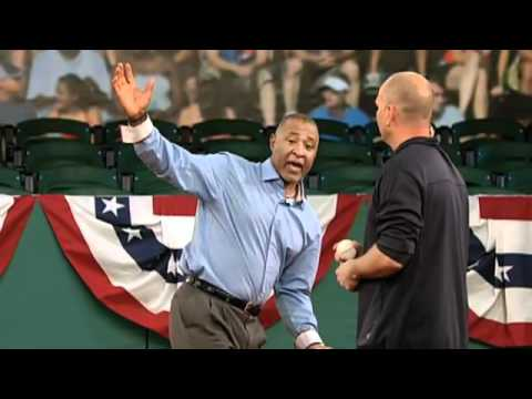 Hall of Fame Shortstop Ozzie Smith demonstrates defensive tactics