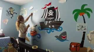 Custom nursery wall decor - Monkey Pirates at Sea - Baby room ideas