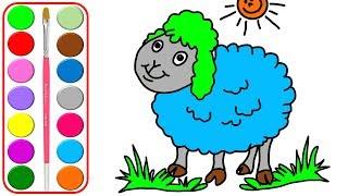 Páginas para colorear de ovejas para niños l Animales para colorear y colores de aprendizaje