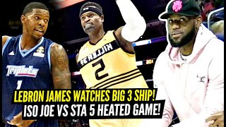 LeBron James Watches Iso Joe Johnson vs Stak 5 EPIC TRASH TALKIN' Match Up In Big 3 Championship!!