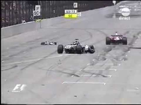 F1 2004 - USA - Crash Ralf Schumacher hits the wall at very high speed
