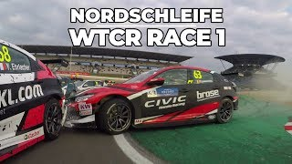 Nordschleife action in race 1 with the WTCR Touring Cars and Tom Coronel