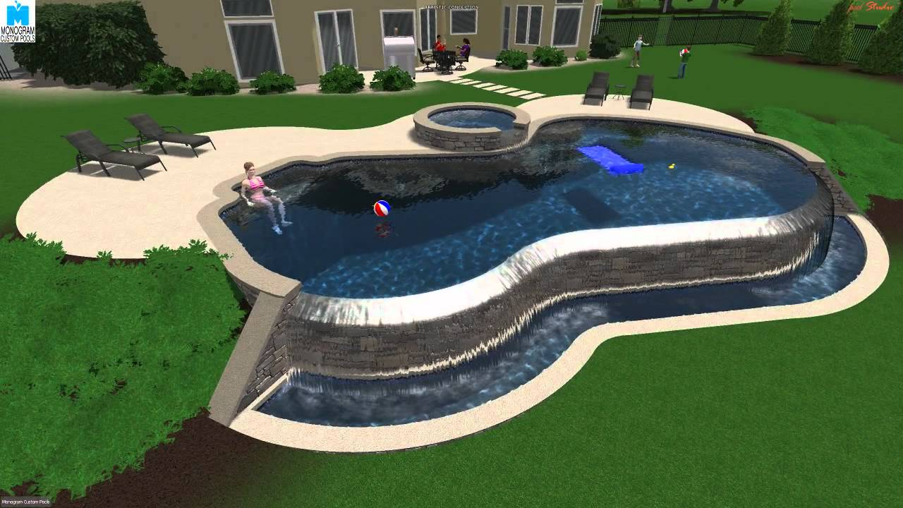 Custom designed 3d salt water infinity edge pool by for 3d pool design free