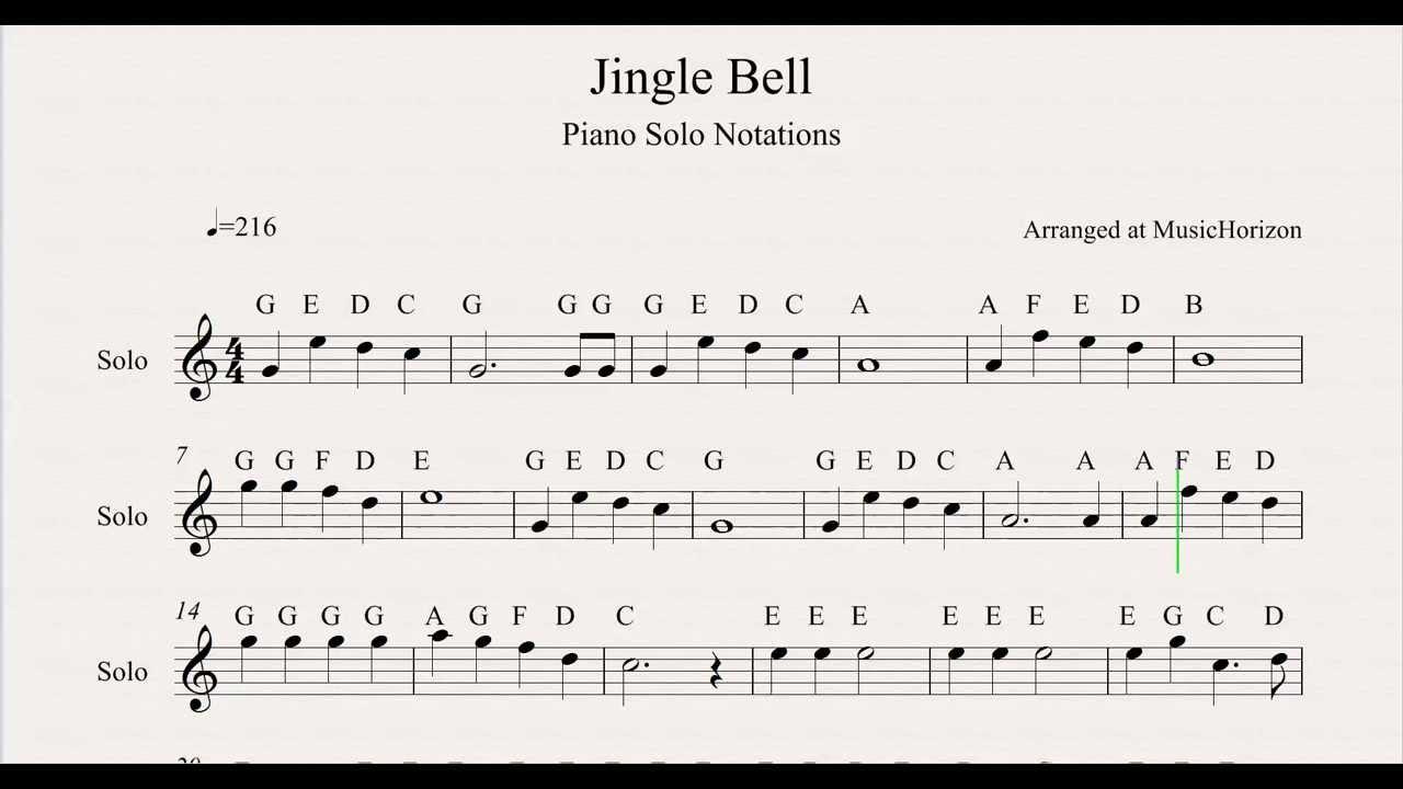 Jingle Bell Sheet Music Notations From MusicHorizon - YouTube