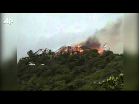 Raw Video: Fire Destroys Branson's Island Home