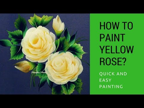 How to paint yellow Rose | quick and easy acrylic painting | step by step
