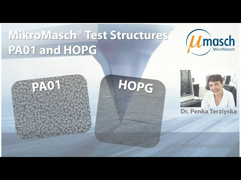 <h3>MikroMasch HQ Line Product Screencast on Test Structures: PA01 and HOPG<br /></h3> Presented by Dr. Penka Terziyska <br />Product Manager